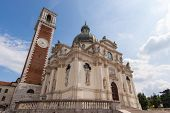 pic of vicenza  - Sanctuary of Our Lady of Monte Berico facade of the basilica dome and bell tower Vicenza  - JPG