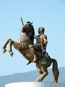picture of great horse  - Closeup of the statue of Alexandre the Great in Skopje Macedonia - JPG