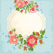 pic of dog-rose  - Vintage background with flowers and rose hips - JPG