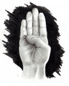 pic of fingerspelling  - This is my artwork depicting a drawing of a hand finger spelling the letter B - JPG