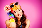 picture of debonair  - Cheerful teenager girl in bright casual clothes smiling at the camera - JPG