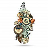 picture of mehndi  - Henna Paisley Mehndi Abstract Floral Vector Illustration Element - JPG