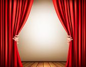 stock photo of curtains stage  - Background with a stage and a curtain - JPG