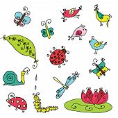 picture of insect  - Set of funny cartoon insects isolated over white - JPG