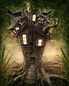 stock photo of wild adventure  - Fantasy tree house in forest - JPG