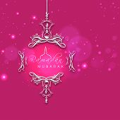 stock photo of ramadan mubarak card  - Beautiful pink greeting card for holy month of muslim community Ramadan Kareem decorated with floral designs - JPG