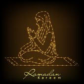 stock photo of namaz  - Golden lines illustration of young muslim girl praying on shiny brown background for holy month of muslim community Ramadan Kareem - JPG
