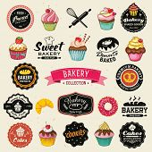 stock photo of cupcakes  - Collection of vintage retro bakery badges and labels - JPG