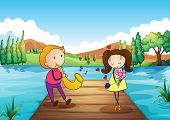 stock photo of serenade  - Illustration of a young man serenading her girlfriend at the riverbank - JPG