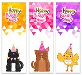 picture of bird-dog  - Triangle Happy Birthday banners with cat dog bird - JPG