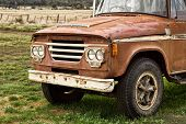 pic of truck farm  - Close up of front end of Old Farm Truck - JPG