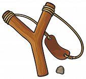 stock photo of projectile  - wooden slingshot vector illustration on white background - JPG