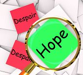 foto of hope  - Hope Despair Note Papers Showing Hoping Or Depression - JPG