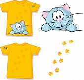 pic of peeking  - kid shirt with cute cat peeking printed  - JPG