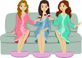 foto of bff  - Illustration of Female Teens Doing a Toast While Relaxing in a Spa - JPG