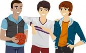 foto of jock  - Illustration of a Group of Male Teens Hanging Out - JPG
