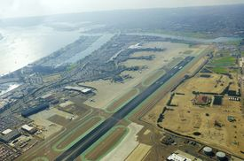 image of united states marine corps  - Aerial view of the San Diego International Airport river and pacific ocean in Southern California - JPG
