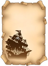 foto of pirate ship  - Old scroll with mysterious pirate ship  - JPG