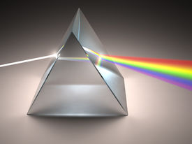 stock photo of prism  - The crystal prism disperses white light into many colors - JPG