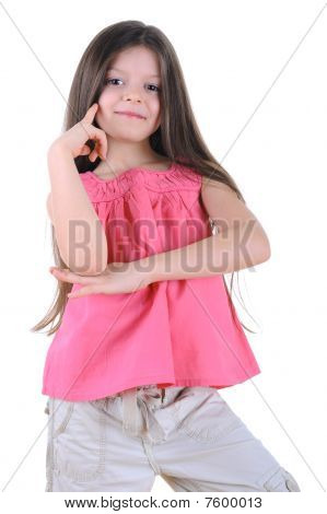 Happy Little Girl Posing