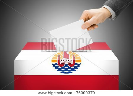 Voting Concept - Ballot Box Painted Into National Flag Colors - French Polynesia