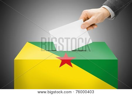 Voting Concept - Ballot Box Painted Into National Flag Colors - French Guiana