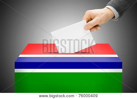 Voting Concept - Ballot Box Painted Into National Flag Colors - Gambia