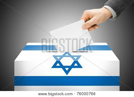 Voting Concept - Ballot Box Painted Into National Flag Colors - Israel