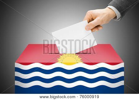 Voting Concept - Ballot Box Painted Into National Flag Colors - Kiribati