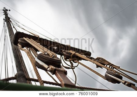 Stormy sky above the mast