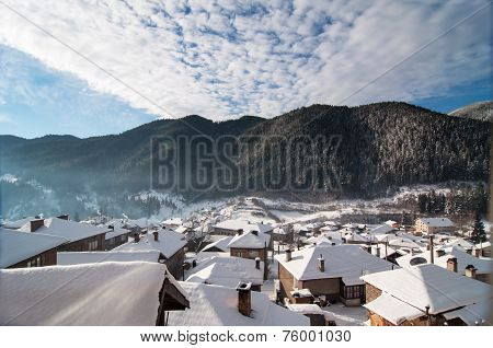 Winter landscape with mountain villages