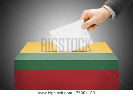 Voting Concept - Ballot Box Painted Into National Flag Colors - Lithuania