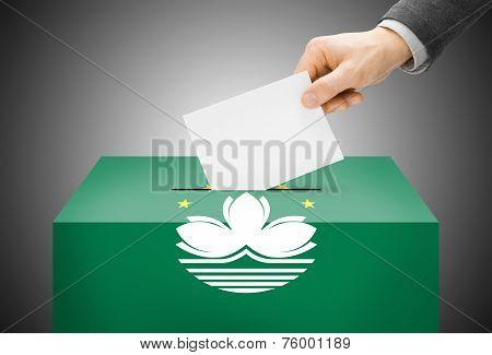 Voting Concept - Ballot Box Painted Into National Flag Colors - Macau