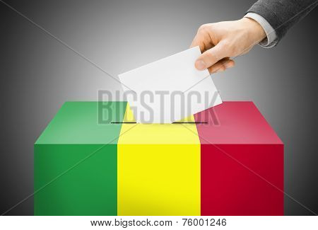 Voting Concept - Ballot Box Painted Into National Flag Colors - Mali