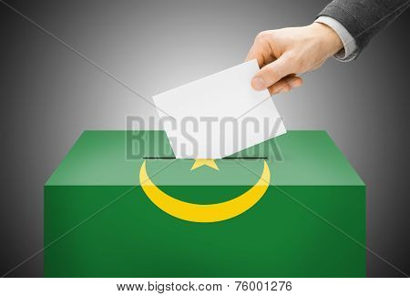 Voting Concept - Ballot Box Painted Into National Flag Colors - Mauritania