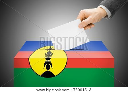 Voting Concept - Ballot Box Painted Into National Flag Colors - New Caledonia
