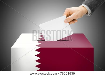 Voting Concept - Ballot Box Painted Into National Flag Colors - Qatar