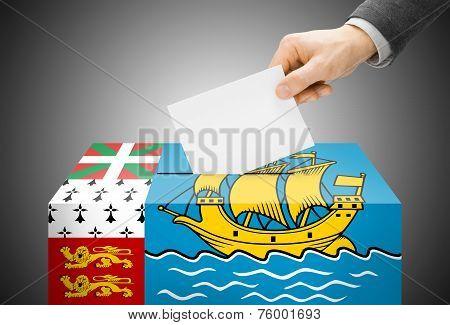 Voting Concept - Ballot Box Painted Into National Flag Colors - Saint-pierre And Miquelon