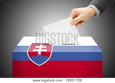 Voting Concept - Ballot Box Painted Into National Flag Colors - Slovakia