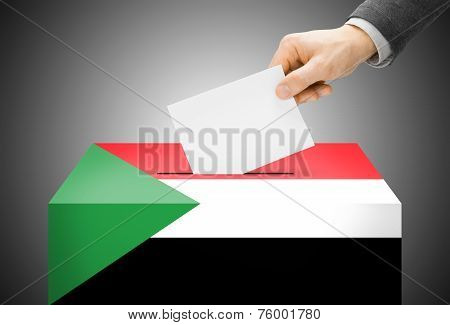 Voting Concept - Ballot Box Painted Into National Flag Colors - Sudan