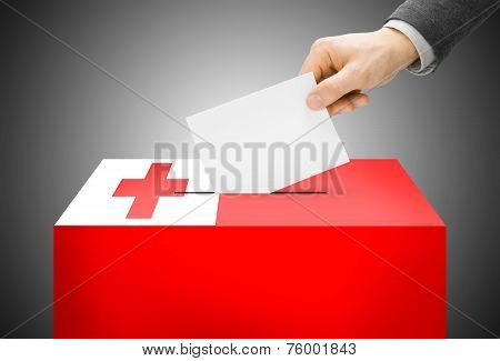 Voting Concept - Ballot Box Painted Into National Flag Colors - Tonga