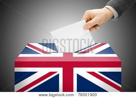 Voting Concept - Ballot Box Painted Into National Flag Colors - United Kingdom Of Great Britain