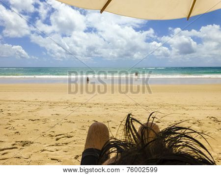 Point Of View Of A Paradise Beach