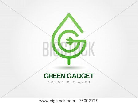 Green Leaf With Wire, Vector Logo Template. Abstract Design Concept For Eco Technology Theme. Ecolog