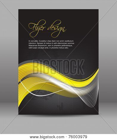Flyer or cover design, dark background with yellow pattern