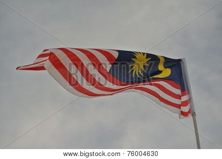 Malaysian flag in windy air
