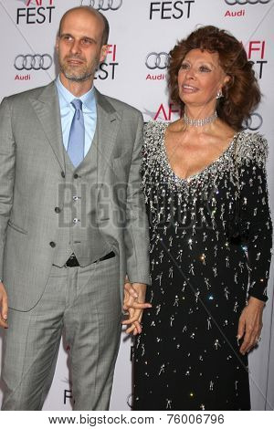 LOS ANGELES - NOV 12:  Edoardo Ponti, Sophia Loren at the A Special Tribute to Sophia Loren at AFI Film Festival at the Dolby Theater on November 12, 2014 in Los Angeles, CA