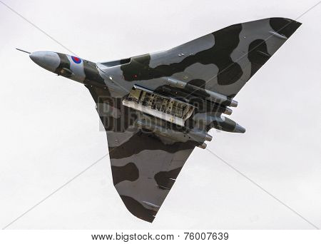Restored Historic Raf Vulcan Bomber During A Flypast With Open Bomb Bay