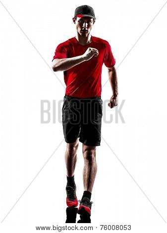 one young man runner jogger in silhouette isolated on white background