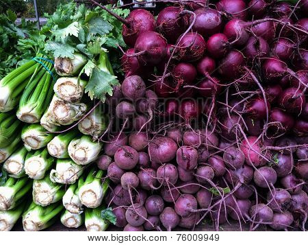 Fresh organic celery and beetroot at farmers Market